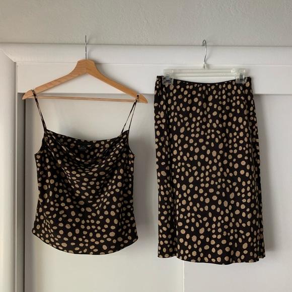 Vintage Dresses & Skirts - Vintage 100% Silk 2-Piece Polka Dot Skirt Set